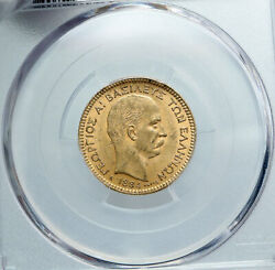 1884 Greece King George I Antique Vintage Old Gold 20 Drachmai Coin Pcgs I88859