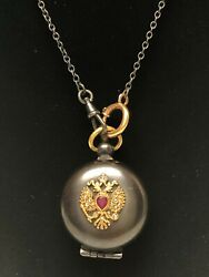 Antique Russian Gold And Gun Metal Coin Saver With Chain