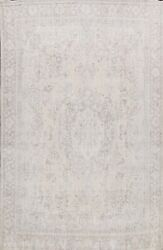 Muted Semi Antique Tebriz Evenly Low Pile Area Rug Handmade Distressed Wool 9x12