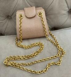 Judith Leiber Pink Snakeskin Bag With Gold-tone Chain Straps