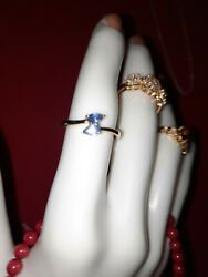 0.50 Ctw Burmese Blue Sapphire Ring In Vermeil Yellow Gold Over Sterling Silver