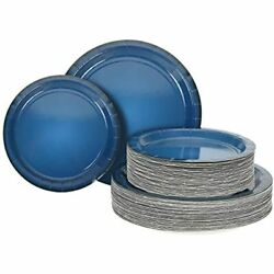 Becargo Blue Paper Plates, Disposable Party Including 50 Dinner Dessert For Etc.