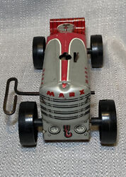 Vintage Marx Toys Silver And Red Marx 5 Wind-up Tractor Metal