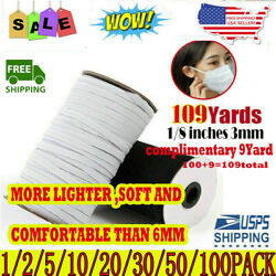 100 Yards Elastic Band Cord Knit 1/4 Inches Width 6mm For Diy Mask Sewing Usa