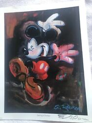 Signed Dancing In The Rain Mickey Lithograph By Eric Robison
