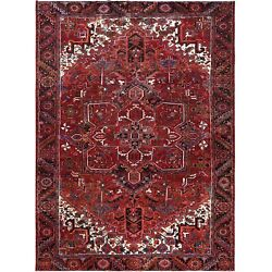 8and0396x11and0397 Semi Antique Red Farsian Heris Worn Down Hand Knotted Wool Rug R60688