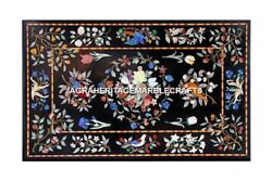 Marble Big Dining Table Top Floral Bird Collectible Inlay Design Decor H3078