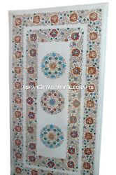 White Marble Dining Table Top Rare Marquetry Hakik Inlay Work Mosaic Decor H2895
