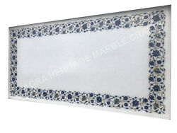 Marble Dining Table Top Lapis Lazuli Inlay Floral Marquetry Christmas Eve E1503