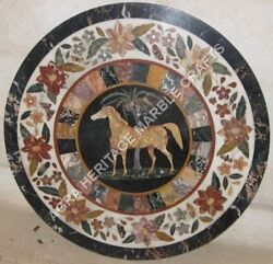 36 White Marble Round Coffee Center Table Top Horse Mosaic Inlay Decor H5011