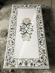 6and039x3and039 White Marble Large Dining Top Table Pauashell Gemstone Inlay