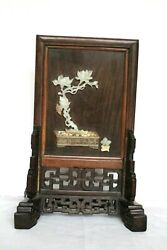 Antique Chinese Jade And Hardstone Inlaid Table Screen 14.5 Inches