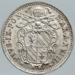 1863 Italy Papal States W Pope Pius Ix Old Silver Italian 10 Baiocci Coin I88590