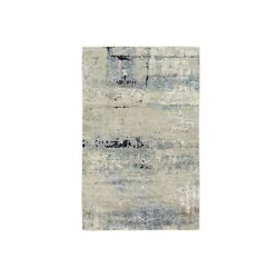 3and039x5and039 Ivory Abstract Design Wool And Silk Hand Knotted Rug R62167