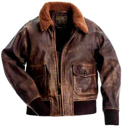 Aviator G-1 Flight Jacket Distressed Brown Real Cowhide Leather Bomber Jacket