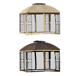 9.7and039 X 9.7 Backyard And Deck Cabana Pergola W/ Removable Mesh Curtains