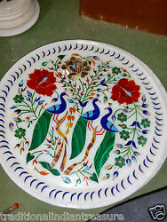 15 Marble Plate Handmade Marquetry Floral Peacock Art Inlay Gifts Arts Decor