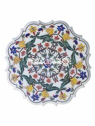 24 White Marble Decorative Plate Inlay Marquetry Italian Art Flower Shape Decor