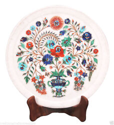 10 Marble Serving Round Dish Plate Rare Mosaic Inlay Marquetry Art Decor Gifts