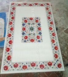 4and039x3and039 Marble Exclusive Dining Table Top Inlay Floral Design Hallway Decor E882a