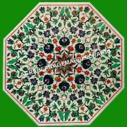 36 Marble White Living Room Dining Table Top Malachite Collectible Inlaid H4333
