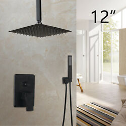 Black Ceiling Mounted 12bathroom Shower Head Faucets Set Hand Spray Mixer Tap