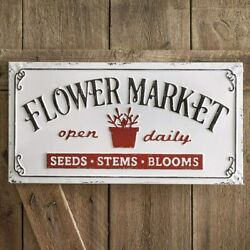 Vintage Style Flower Market Open Daily Metal Sign