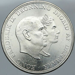 1960 Denmark King Frederick Ix And Queen Ingrid Silver Wedding Anniver Coin I88599