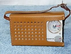 Sanyo 6c-8 Transistor Radio With Leather Case Antique Tested Working Perfect F/s
