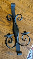 Antique-vtg Heavy Cast Wrought Iron Wall 2 Candle Holder Stand Mcm Retro 20