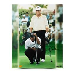 Jack Nicklaus Tiger Woods Dual Signed Autographed 16x20 Photo Match Play Uda