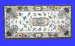 6and039x3and039 White Marble Living Room Dining Table Top Marquetry Inlay Furniture H4743a
