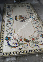 6and039x3and039 White Marble Dining Center Table Top Bird Inlay Arts Hallway Decor E360