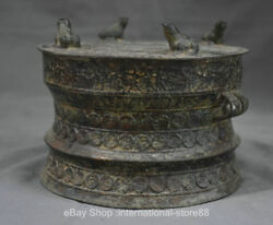 7.4 Old Chinese Bronze Ware Dynasty Palace 4 Frog Word 2 Ear Beast Drum
