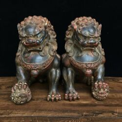 11 Pair Exquisite Asian Chinese Old Antique Bronze Ware Lion Statue