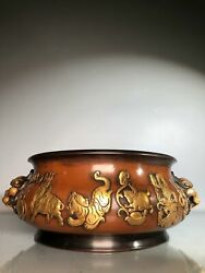 12.2 Old China Xuande Mark Bronze Gilt Carved Chinese Zodiac Incense Burners