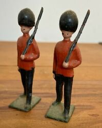 2 X Antique Early John Hills And Co British Foot Guards Lead Soldiers Britains