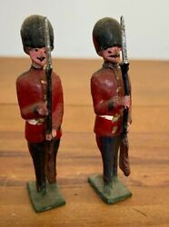 2 X Antique John Hills And Co British Foot Guards Present Arms Soldiers Britains