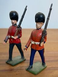 2x Antique John Hill And Co British Foot Guards Articulated Lead Soldiers Britains
