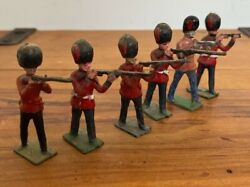 6 X Antique J. Hill And Co British Foot Guards Fire Team Lead Soldiers Britains