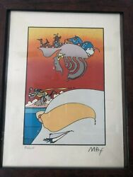 Peter Max Traveling Alongandrdquo1973 Signed 86/250 Lithograph Rare Pop Art Embossment