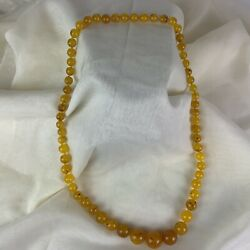 Rare- Vintage Moon Glow Honey/yellow Lucite Speckled Beaded Mid-century Necklace