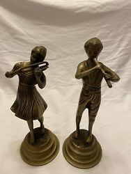 Brass Statues Figurines Boy And Girl Playing The Flute And Violin
