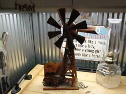 Vintage Large Copper Metal Windmill Art Music Box Wind Mills Of Your Mind 17
