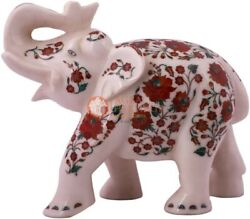 12 White Collectible Elephant Statue Carnelian Floral Show Piece Christmas Gift