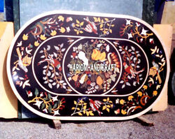White Marble Top Dining Table Birds With Floral Garden Gifts Inlaid Collectible
