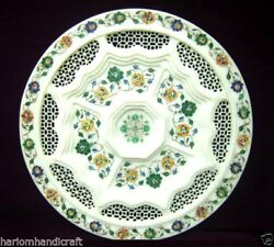 18 White Marble Serving Tray Plate And Free Elephant Statue Inlaid Work Handmade