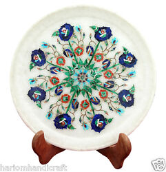 15 White Marble Serving Plate Rare Mosaic Inlay Collectible Decor Gifts H2272
