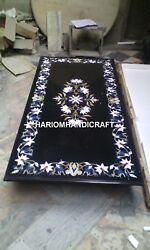 Black Marble Dining Table Top And Free Trinket Jewelry Box Inlay Work Wedding Gift
