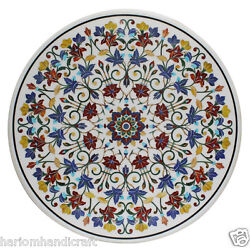 44 Marble Dining Round Table Top Marquetry Mosaic Floral Inlay Home Decor H2318